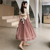 skirt Spring 2021 S,M,L Mid length dress Retro High waist A-line skirt Solid color Type A 18-24 years old 51% (inclusive) - 70% (inclusive) other Other / other polyester fiber Gauze