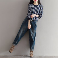 Jeans Spring 2021 Pants [in stock], top [in stock] M,L,XL,2XL,3XL trousers Natural waist routine Worn, worn, washed, zipper, button Cotton denim Dark color Other / other