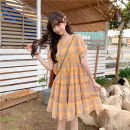 Dress Summer 2021 Yellow, dark blue L,XL,2XL,3XL,4XL Mid length dress singleton  Short sleeve commute Crew neck High waist lattice Socket A-line skirt routine 18-24 years old Type A Korean version 51% (inclusive) - 70% (inclusive) other other