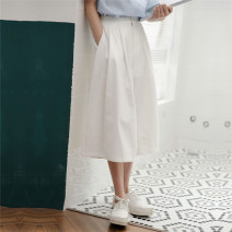 Casual pants white S,M,L Summer 2021 Cropped Trousers Wide leg pants High waist commute Thin money 18-24 years old 71% (inclusive) - 80% (inclusive) cotton literature pocket cotton