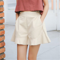 Casual pants S,M,L Spring 2021 shorts Wide leg pants High waist Sweet routine 18-24 years old 51% (inclusive) - 70% (inclusive) cotton Lotus leaf edge cotton college