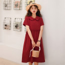 Dress Summer 2021 Lycopene Average size Mid length dress singleton  Short sleeve Sweet Doll Collar High waist Solid color Socket A-line skirt routine 18-24 years old Type A Ruffles, Auricularia auricula, buttons 51% (inclusive) - 70% (inclusive) other cotton college