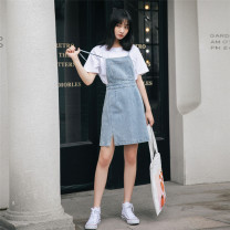 Dress Spring 2021 blue S,M,L Middle-skirt singleton  Sleeveless Sweet One word collar High waist Solid color Socket A-line skirt other camisole 18-24 years old Type A pocket 51% (inclusive) - 70% (inclusive) Denim cotton college