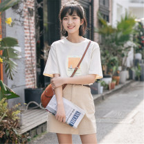 Fashion suit Summer 2021 S. M, l, average size Apricot top, skirt 18-25 years old 51% (inclusive) - 70% (inclusive) cotton