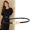 Belt / belt / chain top layer leather female belt Versatile Single loop Middle aged youth Double buckle Double button Glossy surface 1cm alloy alone Songs Summer of 2019 no