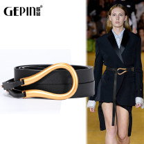 Belt / belt / chain other Black (small) coffee (small) Khaki (small) white (small) Brown (small) green (small) black (large) Brown (large) coffee (large) green (large) female belt Versatile Single loop Middle aged youth Smooth button Glossy surface Glossy surface 2.3cm alloy alone Songs GP-0955 no