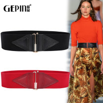 Belt / belt / chain top layer leather female Waistband Versatile Single lap Middle aged youth a hook Glossy surface Glossy surface alloy 5.8cm Light body thick line decoration elastic Songs GP-0885 Autumn 2019 no Black coffee
