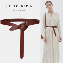 Belt / belt / chain Double skin leather Coffee black black (Extended Version) coffee (Extended Version) Khaki Brown Red female belt Versatile Single loop Middle aged youth Glossy surface Glossy surface 2.2cm alone Songs GP-0808 Autumn and winter 2018 no