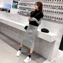 Dress Autumn 2020 Grey knitted dress + Black knitted vest S. M, l, XL, collection baby plus shopping cart to give gifts longuette Two piece set Long sleeves commute Crew neck High waist Solid color Socket A-line skirt routine Type A Jinsha women's wear Korean version Split knitting