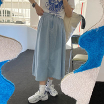 skirt Summer 2021 S, M wathet Mid length dress commute High waist A-line skirt Solid color Type A More than 95% cotton Korean version