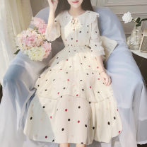 Dress Spring of 2019 Light blue, off white S,M,L Mid length dress singleton  Long sleeves Sweet Crew neck High waist Dot Socket Cake skirt other Others 18-24 years old Type A Runaway princess Bows, lace, lace, prints 91% (inclusive) - 95% (inclusive) Chiffon other princess
