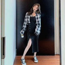 Women's large Spring 2020, autumn 2020 Single plaid shirt, single black suspender skirt, two piece picture color set M 90-105, l 105-120, large 1xl120-135, large 2xl135-155, large 3xl155-175, large 4xl175-200 Dress Two piece set commute Self cultivation moderate Cardigan Long sleeves lattice Retro