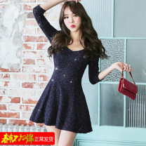 Dress Winter 2020 Navy Blue S,M,L,XL,2XL Short skirt singleton  Long sleeves commute V-neck High waist Broken flowers zipper A-line skirt routine Others 18-24 years old Type A Korean version Lace 51% (inclusive) - 70% (inclusive) Lace polyester fiber