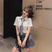 Fashion suit Summer 2021 S,M,L White shirt + tie + pleated skirt, grey shirt + tie + pleated skirt 18-25 years old Other / other 51% (inclusive) - 70% (inclusive) polyester fiber