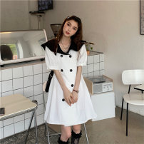 Dress Summer 2021 White, green Average size Middle-skirt singleton  Short sleeve commute Admiral High waist other double-breasted A-line skirt puff sleeve Others 18-24 years old Type A Other / other Korean version Button 51% (inclusive) - 70% (inclusive) other other