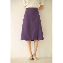 skirt Summer 2021 S,XL,L,M Black, purple, grey, apricot Middle-skirt commute High waist A-line skirt Solid color Type A 25-29 years old other other Korean version