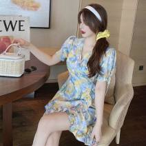 Dress Summer 2021 U-decor-e24, color fu-s84 Average size Short skirt singleton  Short sleeve commute V-neck High waist Socket A-line skirt 18-24 years old Type A Other / other Korean version fungus three point two six