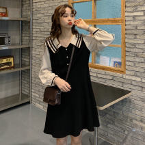 Dress Summer of 2018 black M85-100kg, l100-120kg, xl120-140kg, 2xl140-160kg, 3xl160-180kg, 4xl180-200kg Middle-skirt singleton  Long sleeves commute Admiral Korean version Button 51% (inclusive) - 70% (inclusive)