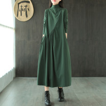 Dress Spring 2021 Red, black, dark green, Navy, coffee M [95 ~ 118 Jin], l [118 ~ 128 Jin], XL [128 ~ 138 Jin], 2XL [138 ~ 160 Jin] longuette singleton  Long sleeves commute High collar Loose waist Solid color Socket Big swing routine Others 30-34 years old Type A Other / other literature Splicing