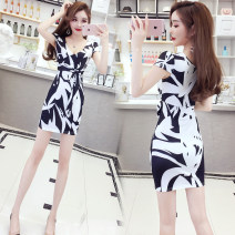 Dress Summer of 2019 Picture color S,M,L,XL Short skirt singleton  Short sleeve commute V-neck middle-waisted Decor Socket One pace skirt 18-24 years old Type H Other / other Korean version Prints, bandages, bows 51% (inclusive) - 70% (inclusive)