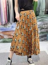 skirt Spring 2021 Average size Butterfly skirt longuette Versatile Natural waist Pleated skirt Decor