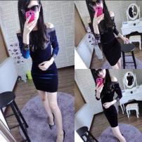 Dress Winter 2016 Black, purple, dark blue S, m, l, XL Middle-skirt singleton  Long sleeves
