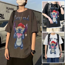 T-shirt Youth fashion Black, white, brown routine M,L,XL,2XL,3XL,4XL,5XL Others elbow sleeve Crew neck easy daily summer Polyester 95% polyurethane elastic fiber (spandex) 5% youth routine tide Woven cloth 2021 Cartoon animation printing polyester fiber Creative interest No iron treatment