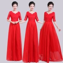 National costume / stage costume Summer of 2019 Red lace dress 1 2XL (weight 130-140 kg), XL (weight 120-130 kg), 3XL (weight 140-150 kg), 4XL (weight 150-170 kg), s (weight 85-100 kg), m (weight 100-110 kg), l (weight 110-120 kg) Light eyebrows Over 35 years old