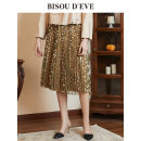 skirt Spring 2020 S M L green Middle-skirt commute High waist Pleated skirt other 25-29 years old More than 95% Bisou d'eve polyester fiber Polyester 100% Same model in shopping mall (sold online and offline)
