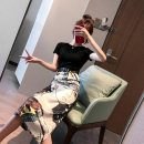 Dress Summer of 2019 Black T-shirt + Print Skirt Black T-Shirt black print skirt S M L XL longuette Two piece set Short sleeve commute Crew neck High waist Decor Socket other routine Others 18-24 years old Type A Rain Road Korean version printing Y8ATZ106B 71% (inclusive) - 80% (inclusive) Chiffon