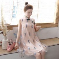 Dress Independent brand Pink (for exquisite pendant), white (for exquisite pendant) S,M,L,XXL,XXXL,XL Korean version Sleeveless Medium length summer stand collar other Space cotton