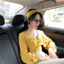 shirt Yellow dots with headscarf, red dots with headscarf S,M,L,XL polyester fiber 96% and above