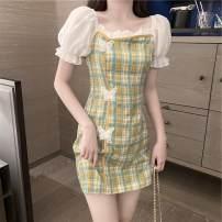 Dress Summer 2021 Red, green S,M,L,XL Miniskirt singleton  commute One word collar High waist lattice Three buttons puff sleeve 81% (inclusive) - 90% (inclusive) brocade cotton