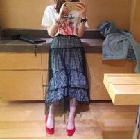 skirt Summer of 2018 Average size black Middle-skirt commute Natural waist Cake skirt lattice More than 95% other polyester fiber Korean version