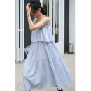 Dress Summer 2020 blue Average size longuette singleton  Sleeveless commute One word collar middle-waisted Solid color zipper Cake skirt other camisole 18-24 years old Type A literature 31% (inclusive) - 50% (inclusive) Poplin polyester fiber
