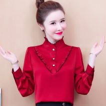 Lace / Chiffon Spring 2021 Red, green, black, black skirt S,M,L,XL,2XL,3XL Long sleeves commute Socket singleton  easy Regular stand collar Solid color routine Auricularia auricula, stitching, button Korean version 81% (inclusive) - 90% (inclusive)