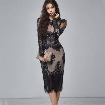 Dress Spring 2020 White, black S,M,L,XL Miniskirt Two piece set Long sleeves commute Crew neck middle-waisted Solid color other One pace skirt routine Others 25-29 years old Other / other Korean version 81% (inclusive) - 90% (inclusive) Lace nylon