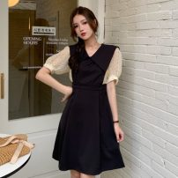 Women's large Spring 2021 Khaki, black Large L, large XL, large XXL, large XXL, large XXXXL, large XXXXL, M Dress singleton  commute Self cultivation moderate Socket Short sleeve Dot Korean version other polyester fiber Three dimensional cutting routine 18-24 years old Middle-skirt zipper