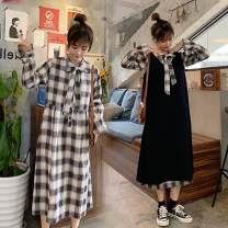 Women's large Spring 2021 One check dress, two piece set M [recommended 80-100 Jin], l [recommended 100-120 Jin], XL [120-140 Jin], 2XL [140-160 Jin recommended], 3XL [160-180 Jin recommended], 4XL [180-200 Jin recommended] Dress Two piece set commute easy moderate Socket Long sleeves lattice cotton