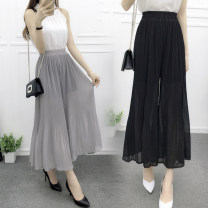 Casual pants White, gray, black, green, sapphire M (80-115kg), l (115-130kg) Spring 2017 Ninth pants Wide leg pants High waist commute Thin money 18-24 years old 30% and below Mantimes other Korean version fold