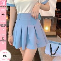 skirt Summer 2021 S,M,L Sea salt blue Short skirt Versatile High waist Pleated skirt Solid color Type A 25-29 years old 31% (inclusive) - 50% (inclusive) other Other / other