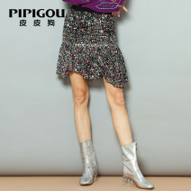 skirt Autumn 2020 Short skirt commute High waist Irregular Solid color Type A 30-34 years old More than 95% Poodle polyester fiber Sequins Retro Polyester 100% Same model in shopping mall (sold online and offline)