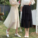 skirt Spring 2021 Average size Black apricot Mid length dress commute High waist A-line skirt Solid color Type A More than 95% Tiphne / Europe, Italy and Korea other fold Korean version Other 100% Pure e-commerce (online only)
