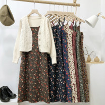 Dress Autumn 2020 Orange flower, green flower, apricot flower, pink flower, black flower, brown flower, Tibetan blue flower Average size Mid length dress singleton  Sleeveless commute Loose waist Decor Socket A-line skirt 18-24 years old Type A Korean version 51% (inclusive) - 70% (inclusive) other
