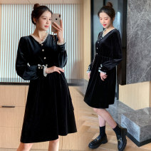 Dress Spring 2021 black M,L,XL,2XL Short skirt singleton  Long sleeves commute V-neck High waist Solid color Socket A-line skirt routine Others Type A Korean version Button 71% (inclusive) - 80% (inclusive) brocade polyester fiber