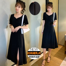 Dress Summer 2021 black M,L,XL,2XL Mid length dress singleton  Short sleeve commute V-neck High waist Solid color Socket A-line skirt routine Others Type A Korean version 71% (inclusive) - 80% (inclusive) brocade cotton