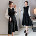Dress Spring 2021 black M,L,XL,2XL Mid length dress singleton  Long sleeves commute Crew neck High waist Solid color Socket A-line skirt routine Others Type A Korean version Splicing 71% (inclusive) - 80% (inclusive) brocade polyester fiber