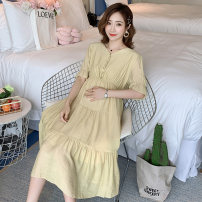 Dress Summer 2021 Pink, yellow, green M,L,XL,2XL Mid length dress singleton  Short sleeve commute V-neck High waist Solid color Socket A-line skirt pagoda sleeve Others Type A Korean version 71% (inclusive) - 80% (inclusive) brocade cotton
