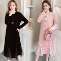 Dress Spring 2020 Black, pink M,L,XL,2XL Mid length dress singleton  Long sleeves commute Crew neck High waist Solid color Socket A-line skirt routine Others Type A Korean version Splicing, mesh 71% (inclusive) - 80% (inclusive) brocade cotton