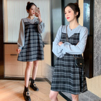 Dress Spring 2021 grey M,L,XL,2XL Short skirt singleton  Long sleeves commute Crew neck High waist lattice Socket A-line skirt routine Others Type A Korean version Splicing 71% (inclusive) - 80% (inclusive) brocade polyester fiber